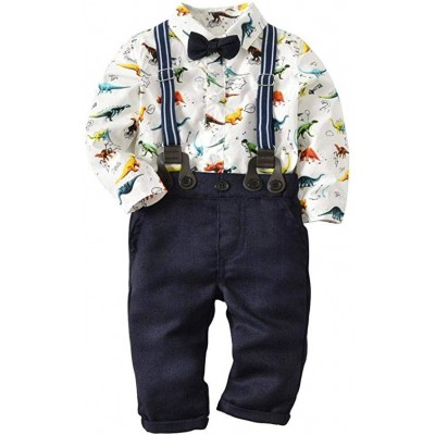 Toddler Baby Boys Dinosaur Gentleman Bowtie Shirt Romper+Suspenders Pants Set Fashion set