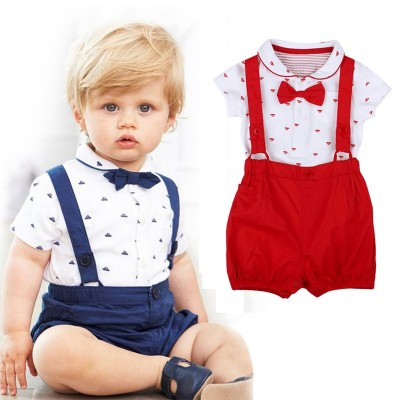 2PCS Baby Infant Boys Short Sleeve Romper Clothes + Toddler Pants Set Outfits Fashion set