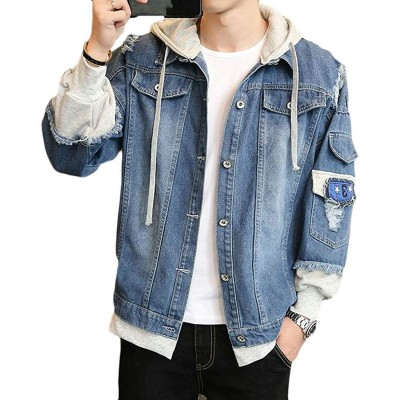 Blue Hooded Denim Jeans Jacket For Men By Wraon