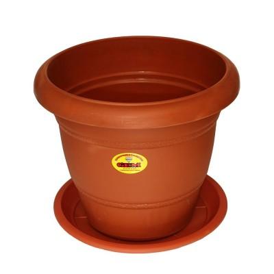 "Gem Brown Plastic 10"" Diameter Flower Pot With Plate Medium"