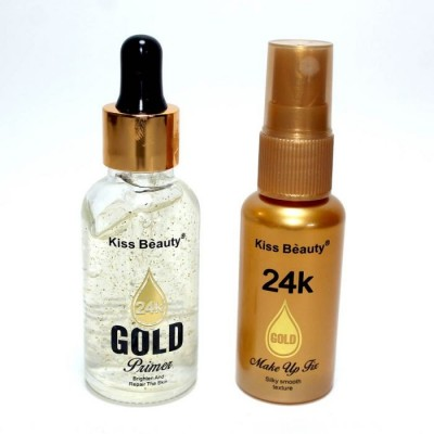 Kiss Beauty 2 in 1 MakeUp Fix & Gold Primer - 24K Kiss Beauty Gold Primer with Makeup Fixer