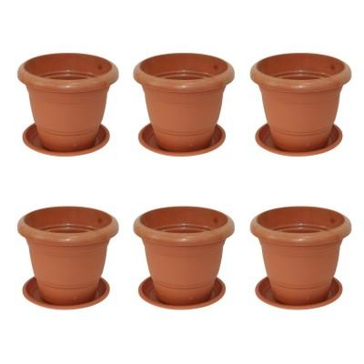 "Gem Brown Plastic 8"" Diameter Flower Pot With Plate"