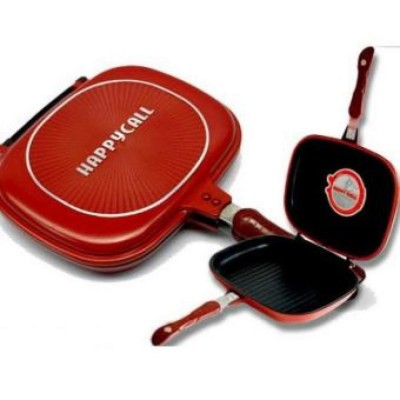 Happy Call Non Stick Double Sided Fry/Grill Pan - Red/Black